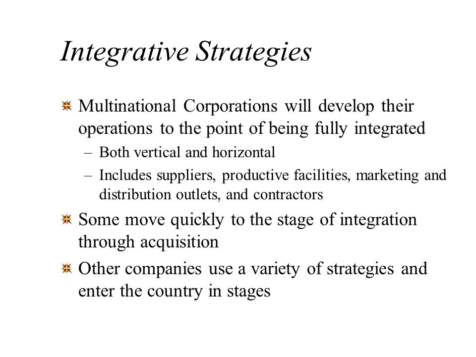 Integrative Strategies
