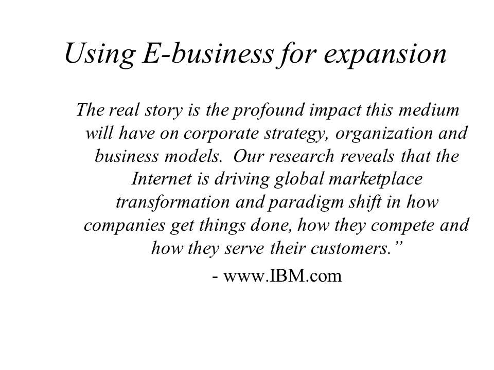 Using E-business for expansion