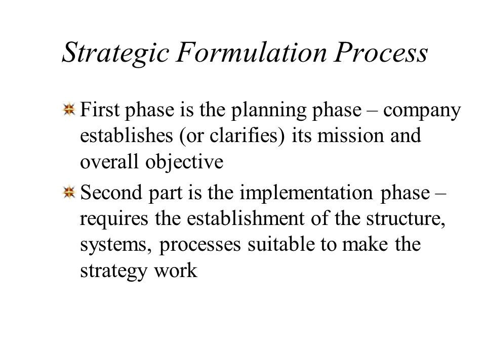 Strategic Formulation Process