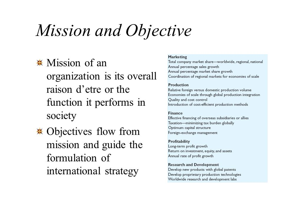 Mission and Objective Mission of an organization is its overall raison d'etre or the function it performs in society.