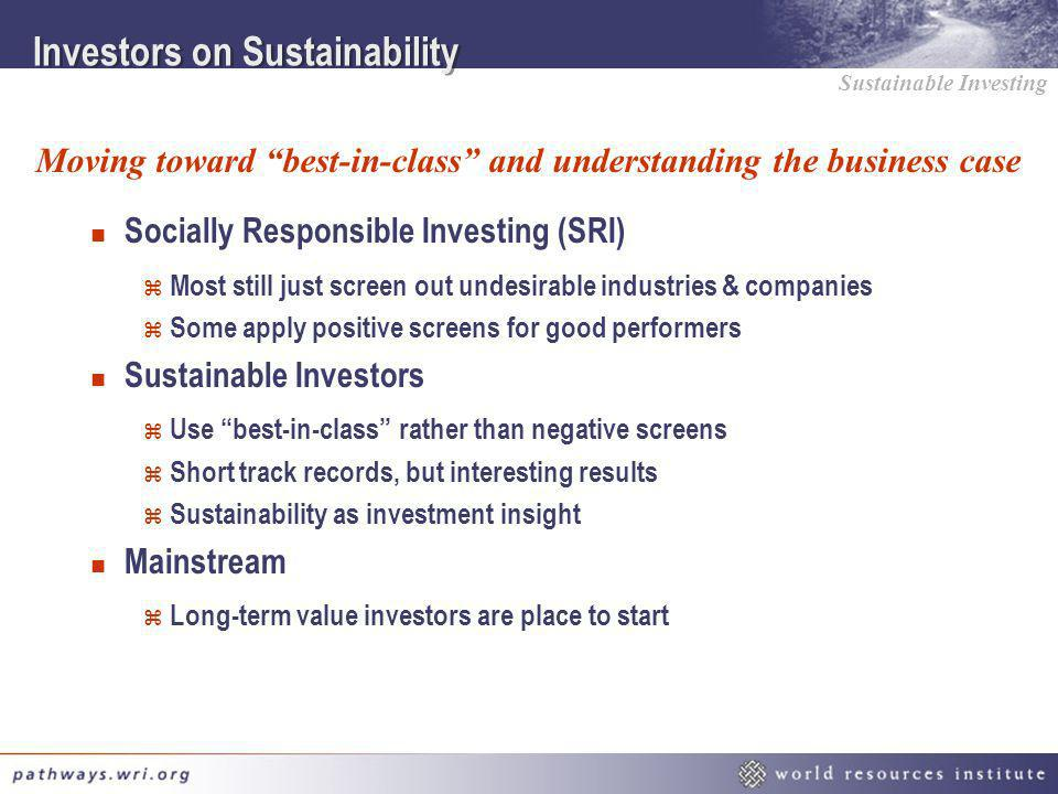 Investors on Sustainability