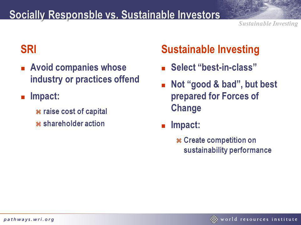 Socially Responsble vs. Sustainable Investors