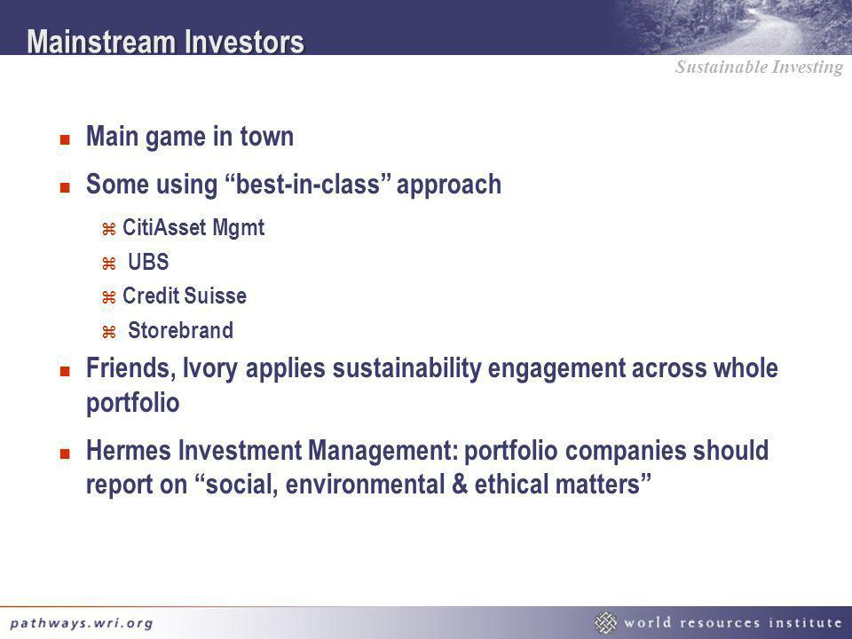 Mainstream Investors Main game in town