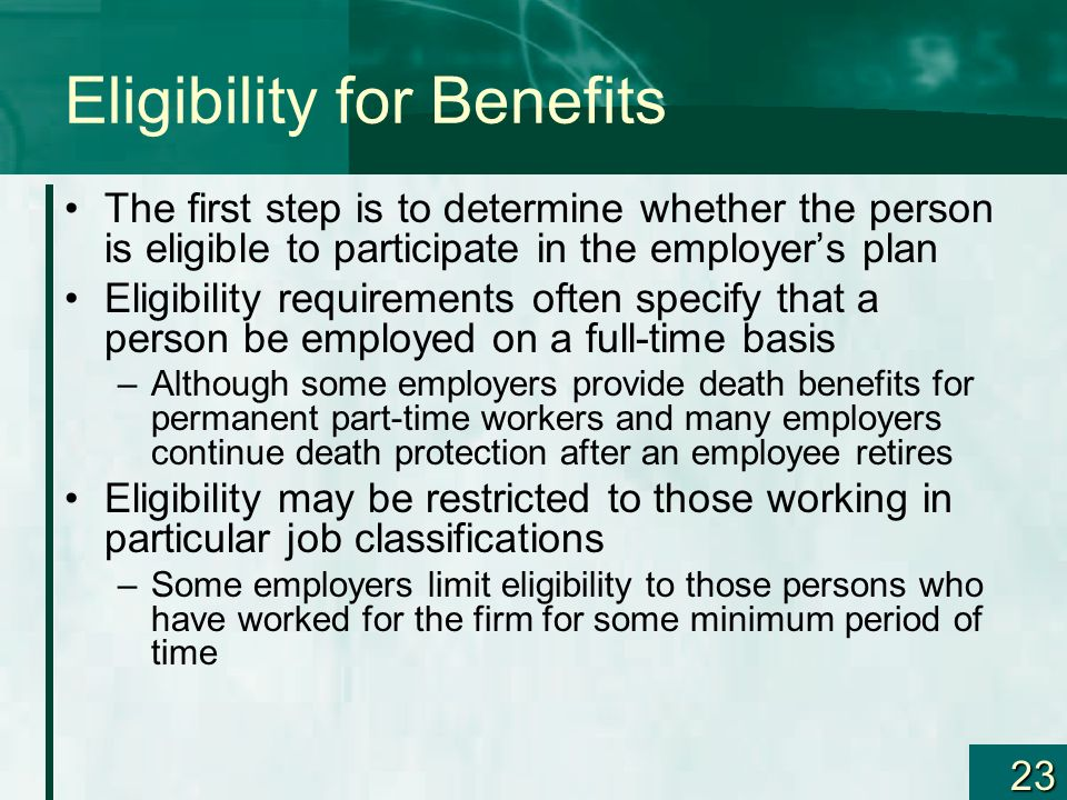 Eligibility for Benefits