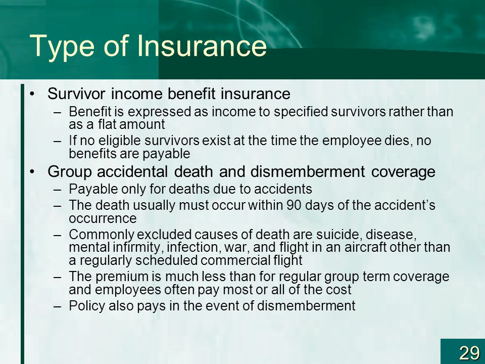 Type of Insurance Survivor income benefit insurance