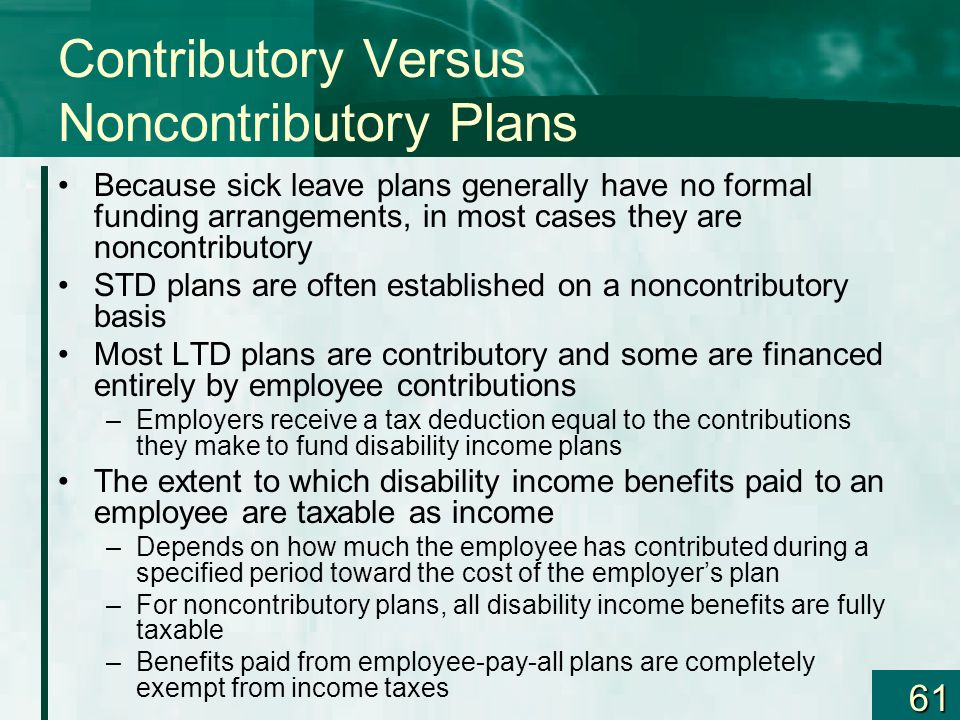 Contributory Versus Noncontributory Plans