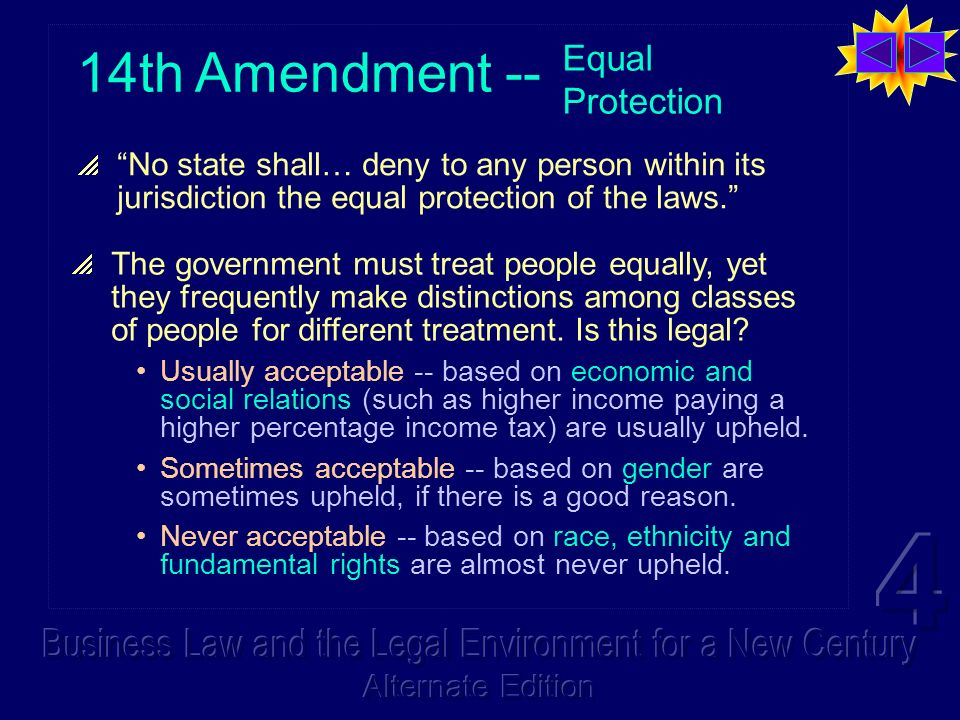 14th Amendment -- Equal Protection