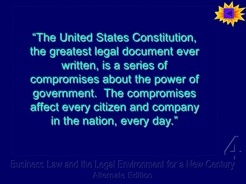 The United States Constitution, the greatest legal document ever written, is a series of compromises about the power of government.