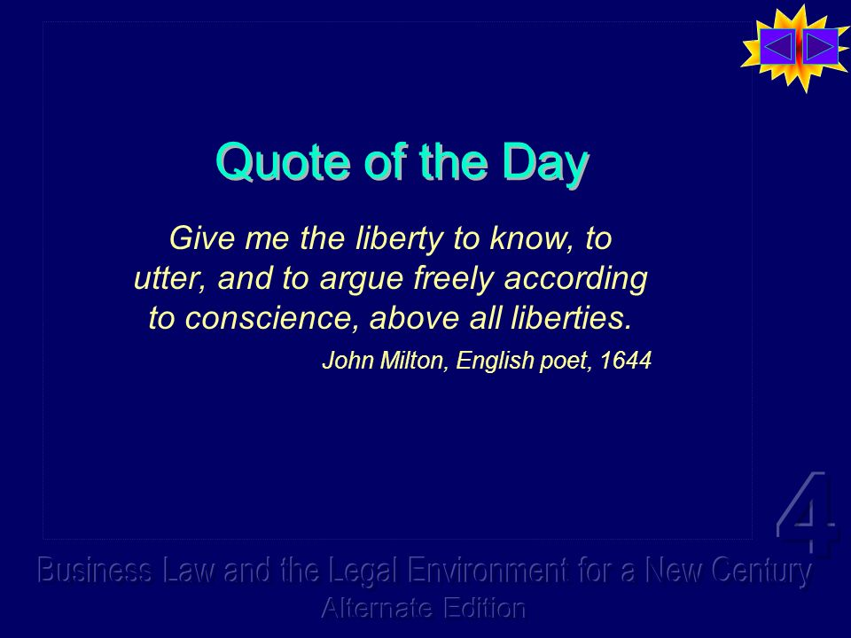 Quote of the Day Give me the liberty to know, to utter, and to argue freely according to conscience, above all liberties.