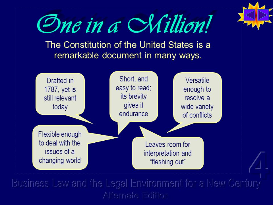 One in a Million! The Constitution of the United States is a remarkable document in many ways.