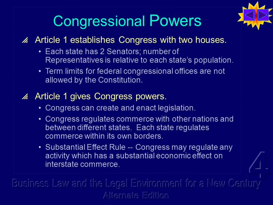 Congressional Powers Article 1 establishes Congress with two houses.