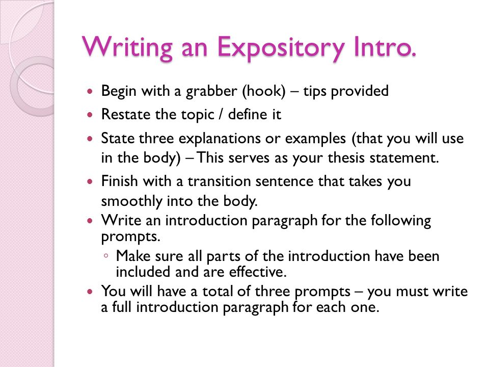 writing an introduction paragraph with a thesis Writing an introductory paragraph is easier than it may seem the key to a  successful intro is knowing the components that go into it much like a watch has .