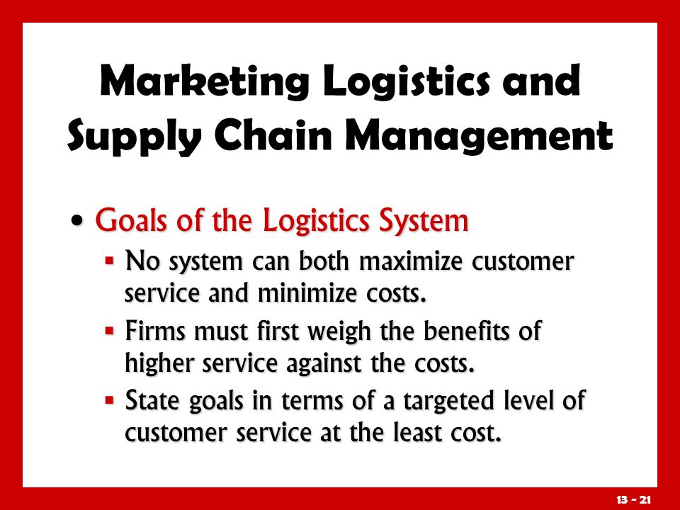 market logistics objective Gain a share of the global market and to take advantage of higher production   the main objectives behind the outsourcing of logistics services are to.