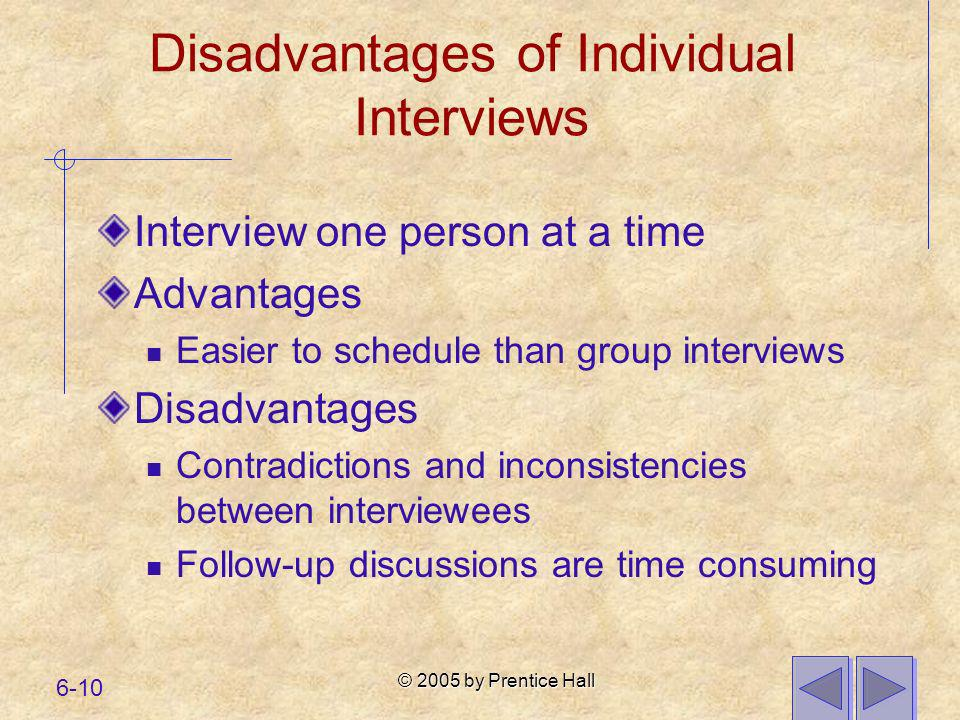Disadvantages of Individual Interviews
