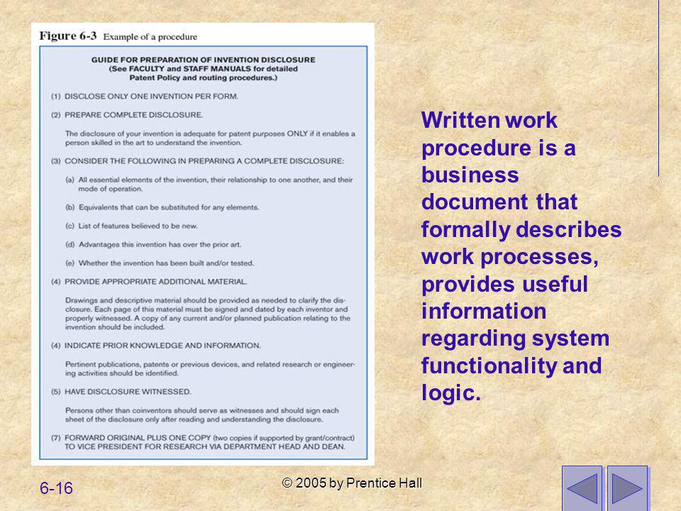 Written work procedure is a business document that formally describes work processes, provides useful information regarding system functionality and logic.