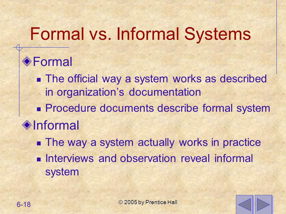 Formal vs. Informal Systems
