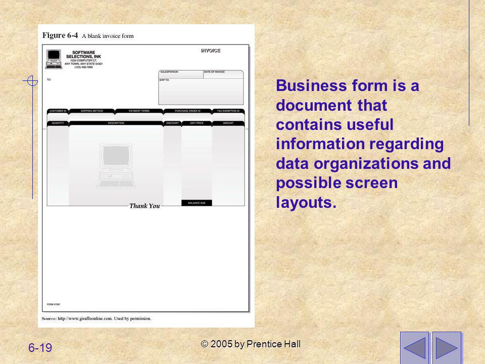 Business form is a document that contains useful information regarding data organizations and possible screen layouts.