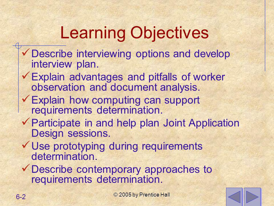 Learning Objectives Describe interviewing options and develop interview plan.