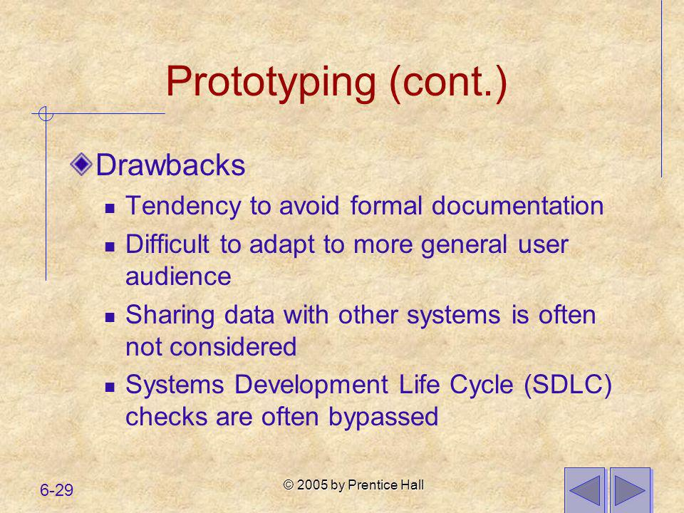 Prototyping (cont.) Drawbacks Tendency to avoid formal documentation
