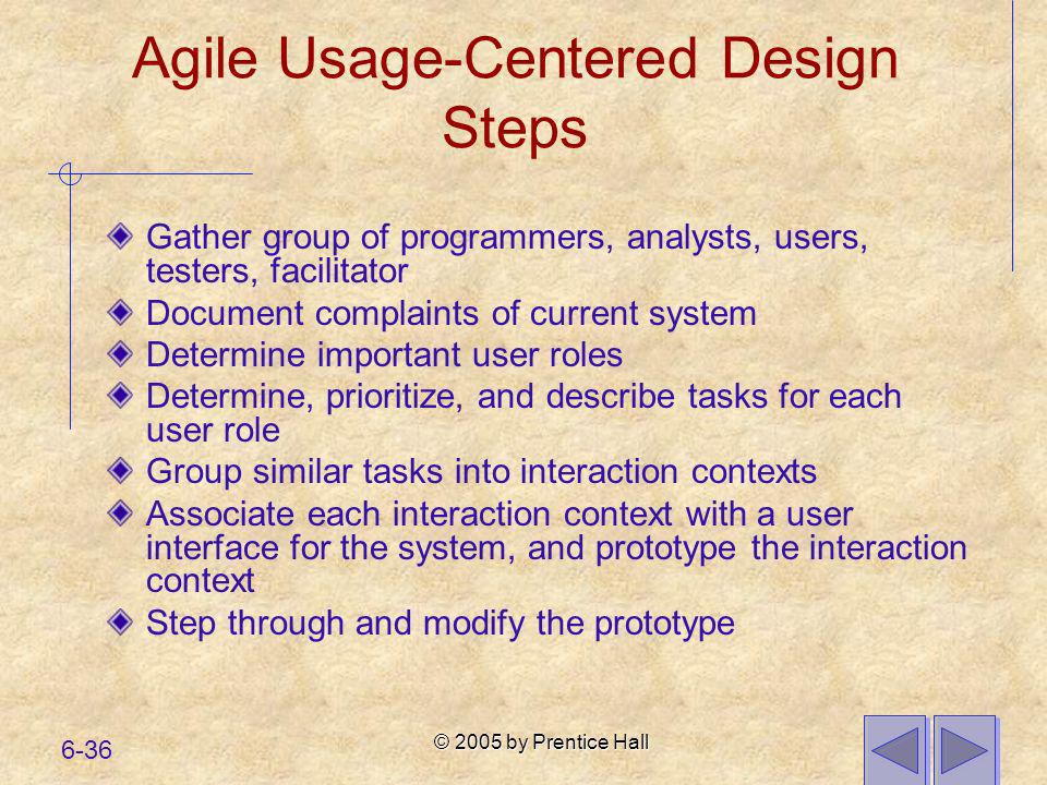Agile Usage-Centered Design Steps