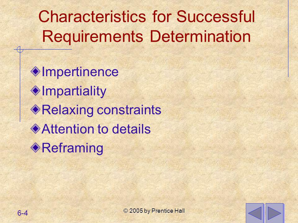 Characteristics for Successful Requirements Determination
