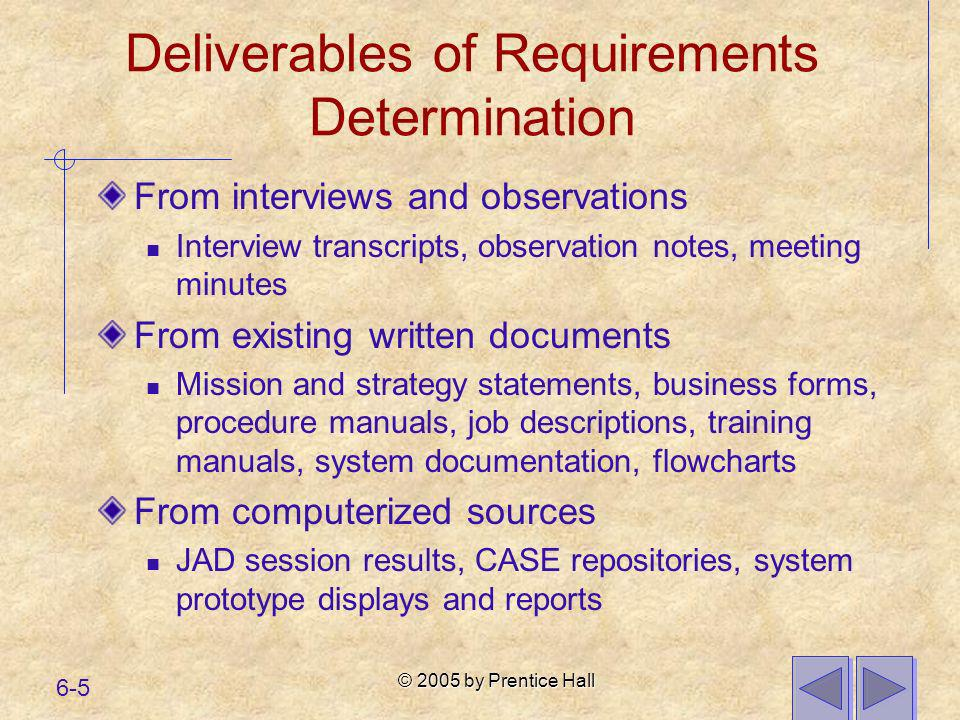 Deliverables of Requirements Determination