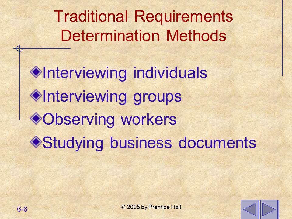 Traditional Requirements Determination Methods