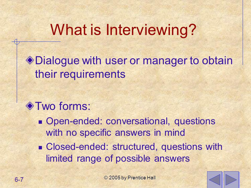 What is Interviewing Dialogue with user or manager to obtain their requirements. Two forms:
