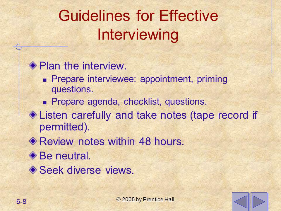 Guidelines for Effective Interviewing