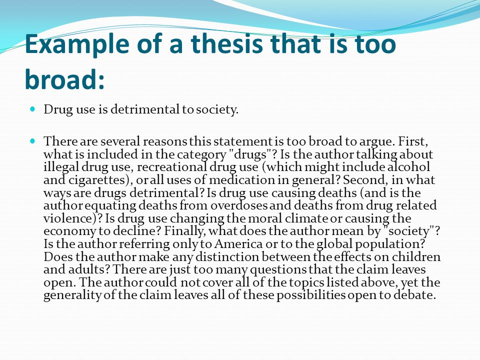 thesis statement about drug abuse