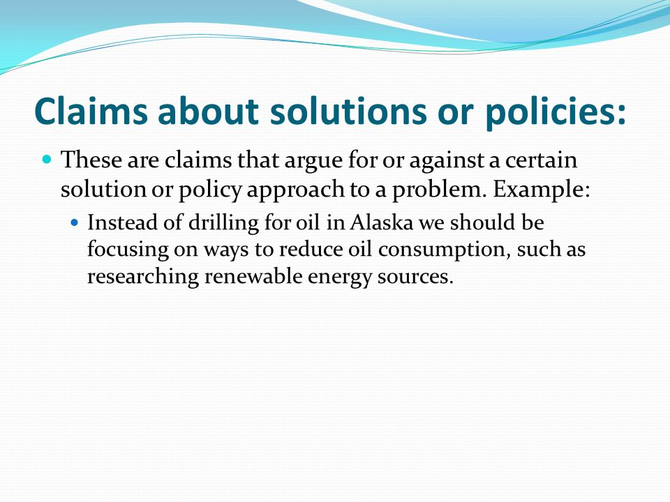 Claims about solutions or policies: