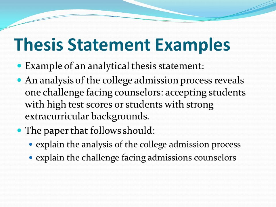 Thesis Statements In Informative Essays