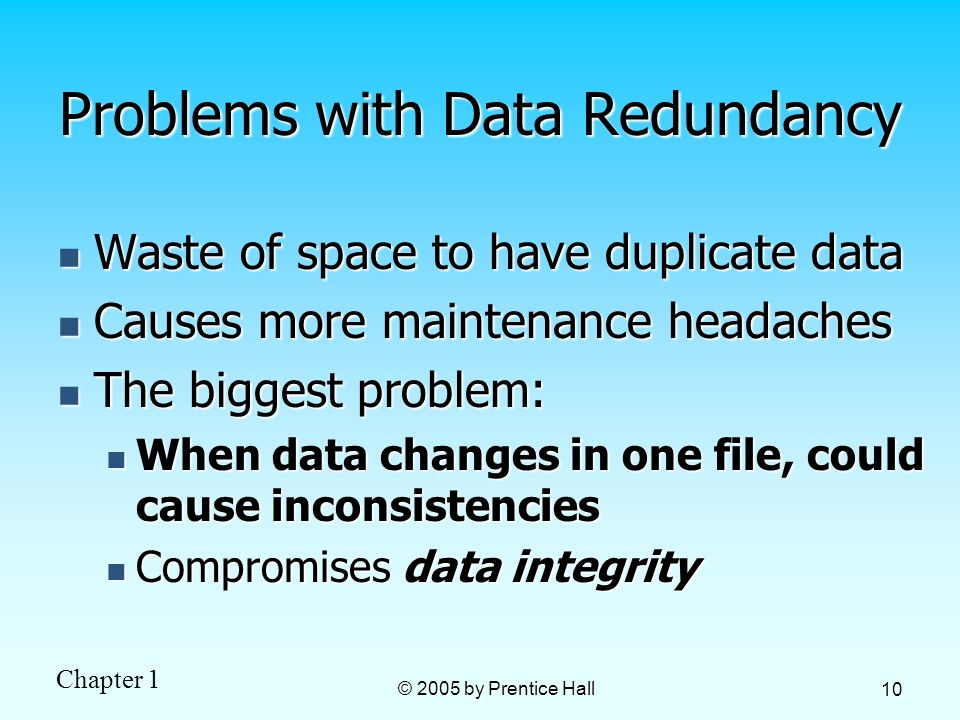 Problems with Data Redundancy