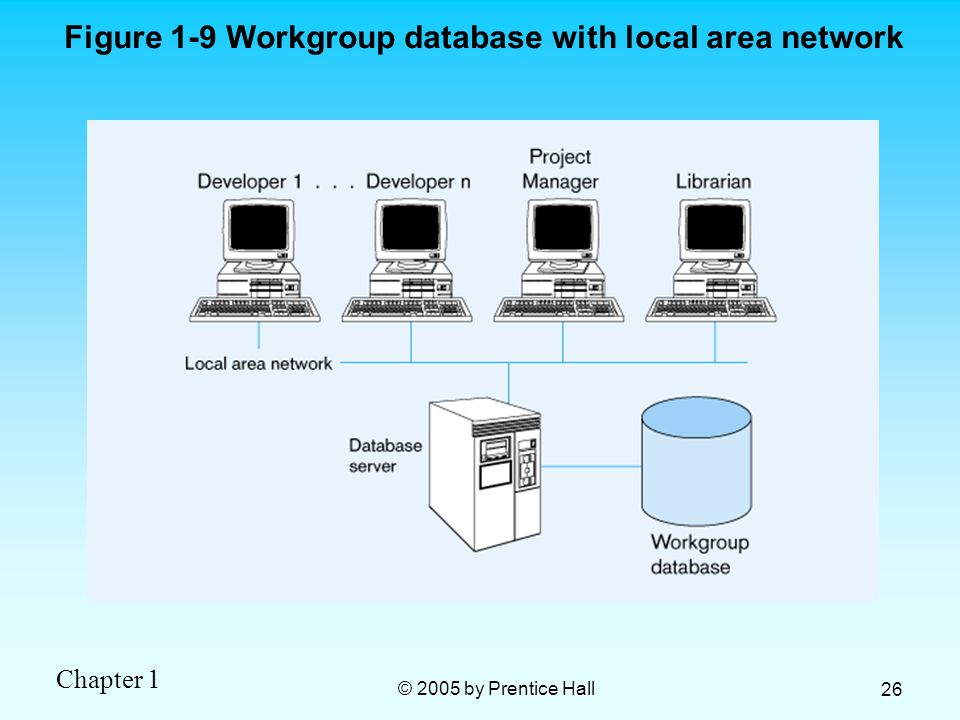 Figure 1-9 Workgroup database with local area network