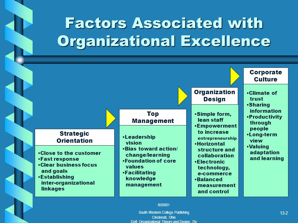 Factors Associated with Organizational Excellence