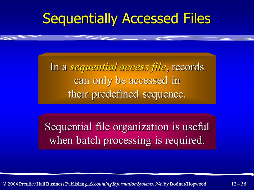 Sequentially Accessed Files