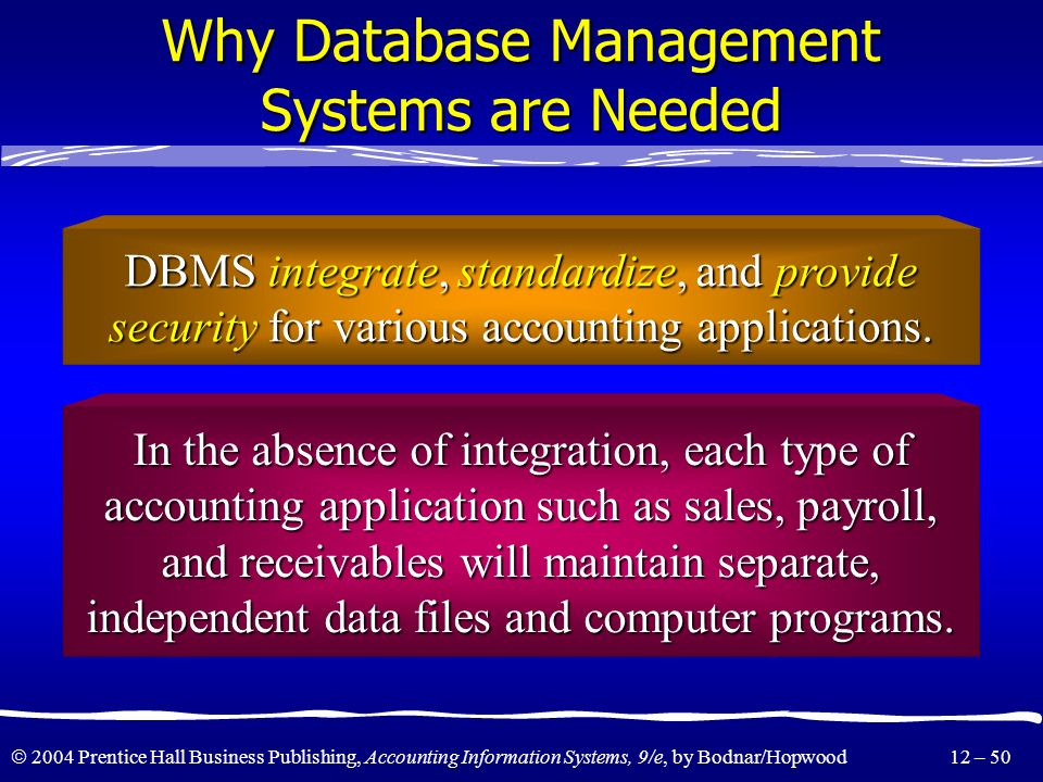 Why Database Management Systems are Needed