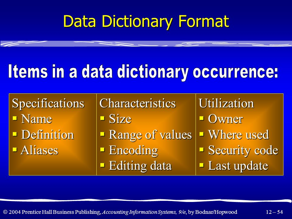Data Dictionary Format