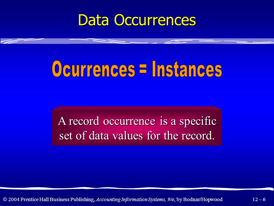 Data Occurrences Ocurrences = Instances