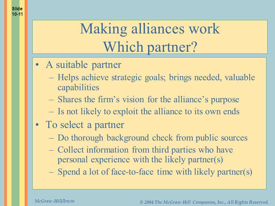 Making alliances work Which partner