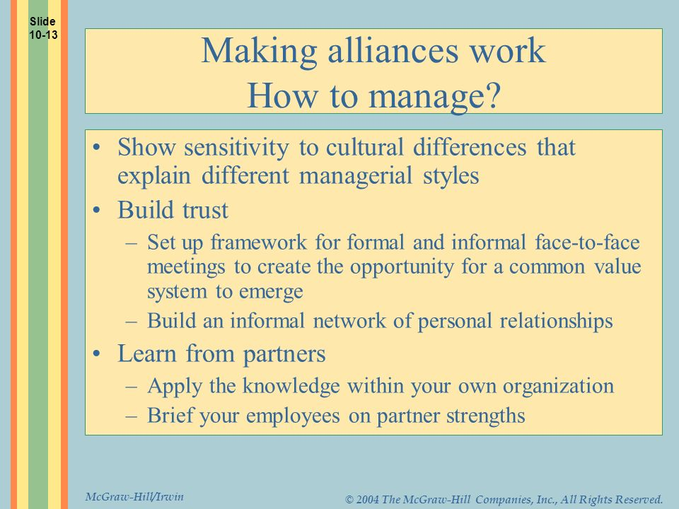 Making alliances work How to manage