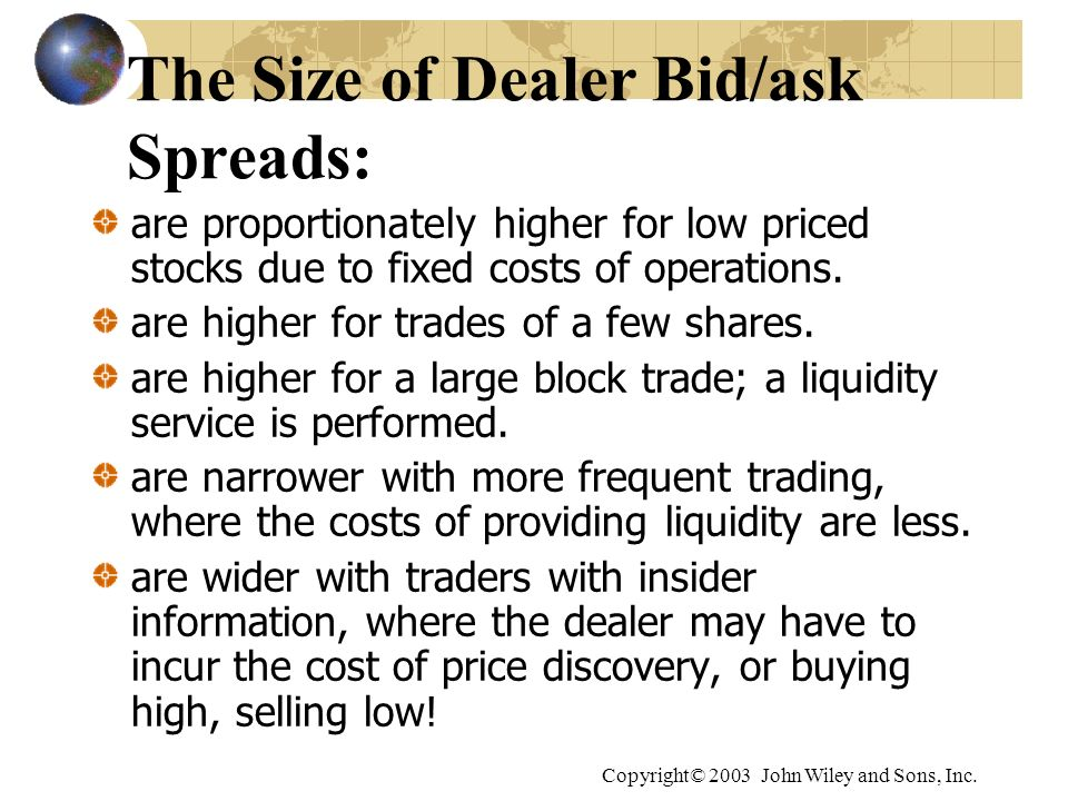 The Size of Dealer Bid/ask Spreads: