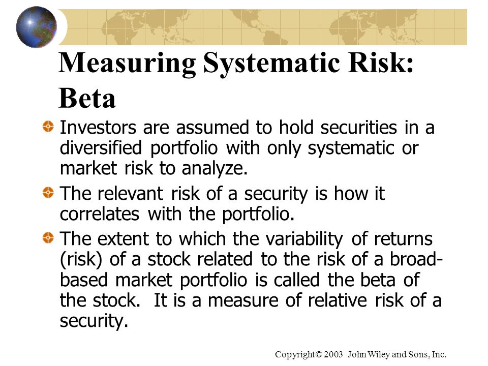 Measuring Systematic Risk: Beta
