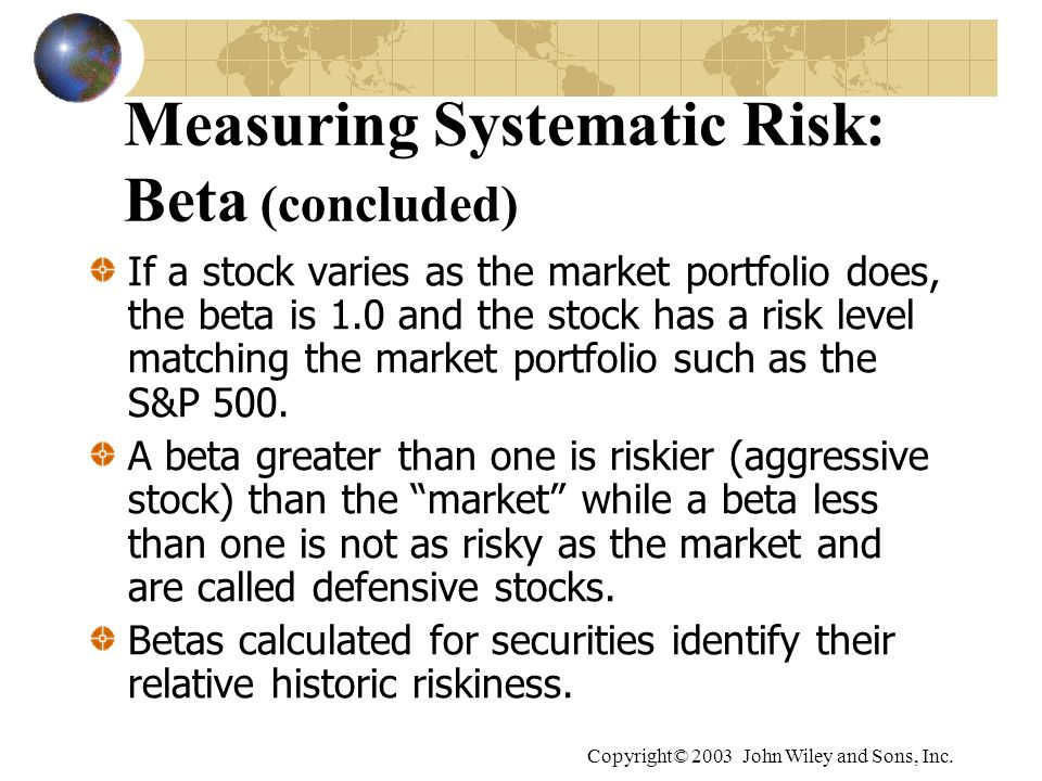 Measuring Systematic Risk: Beta (concluded)