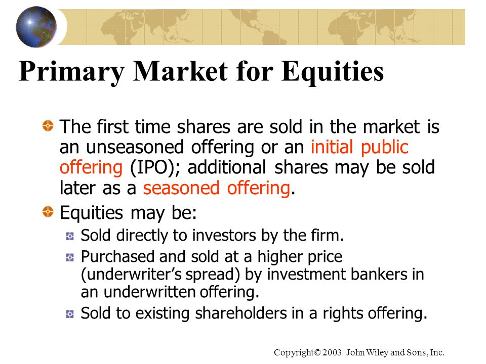 Primary Market for Equities
