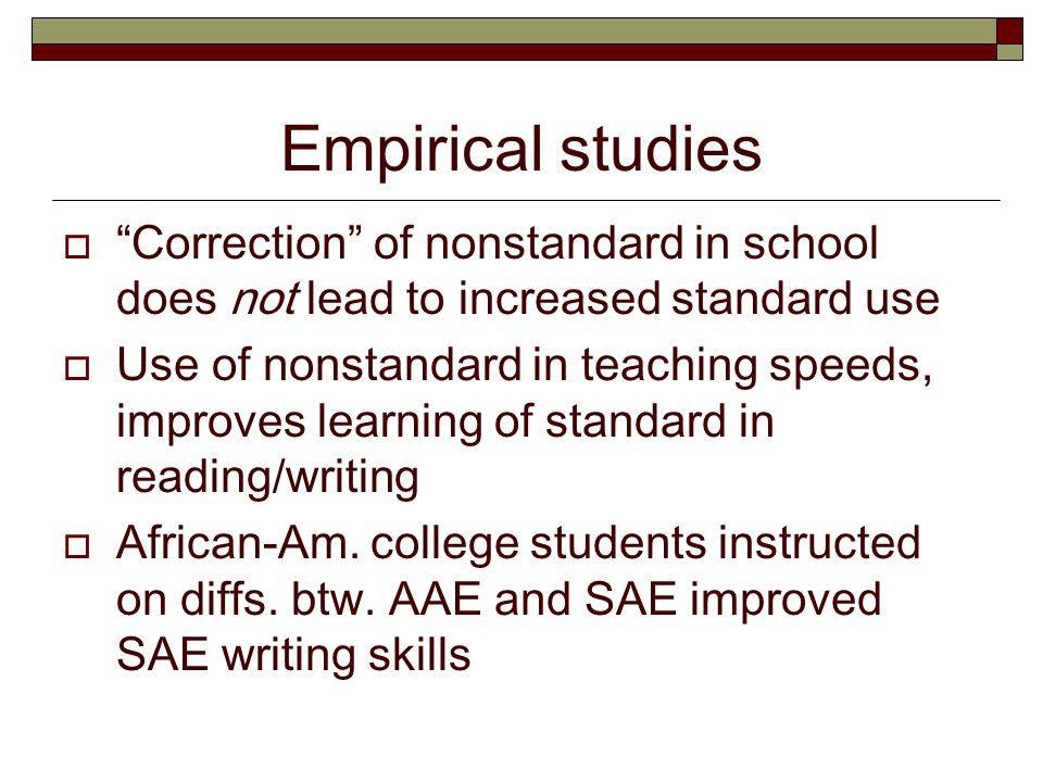 ebonics vs standard english When the oakland school board explained that it was simply having students translate from ebonics to standard english.