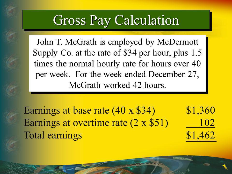 Gross Pay Calculation Earnings at base rate (40 x $34) $1,360