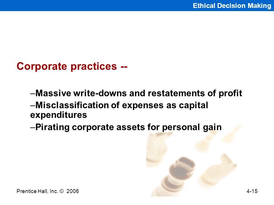 Corporate practices --