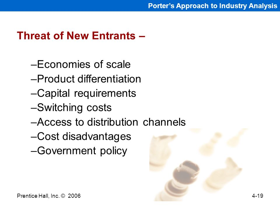 Threat of New Entrants – Economies of scale Product differentiation