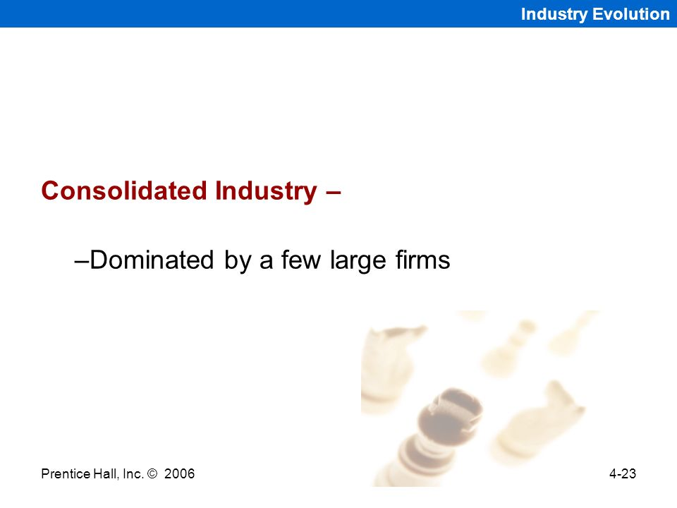 Consolidated Industry – Dominated by a few large firms